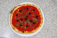 Pizz sardynek Italia restauraci karmowy mięso zdjęcie royalty free