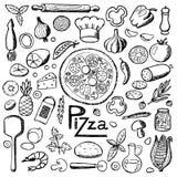 Pizza Éléments tirés par la main réglés Images libres de droits