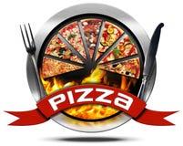 Pizza - ícone do metal com cutelaria Fotos de Stock