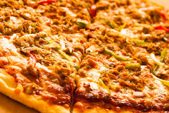 Pizza überstiegen mit Thunfisch stockfotografie