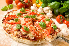 Pizza. Healthy vegetarian pizza with fresh and colorful vegetables and basil fresh out of the oven Stock Image