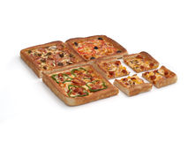 Pizza. Square Pizza with four different flavours Stock Photography