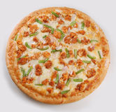 Pizza. Top view of a delicious complete pizza on grayish studio background Royalty Free Stock Photo