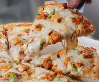 Pizza. With cheese, chicken, green chili and onions Royalty Free Stock Photography