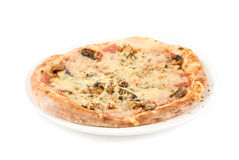 Pizza. With mushrooms, ham isolated on white background Royalty Free Stock Images