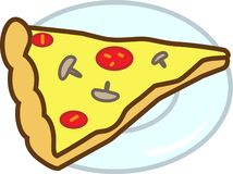 Colored icon pizza with mushrooms, tomatoes and chees. For websites and applications vector illustration