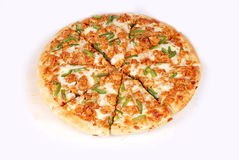 Pizza. With toppings of chicken, green chili,red chili Royalty Free Stock Image