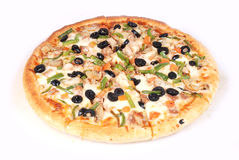 Pizza. With olives, cheese, chicken, green chili Stock Photos