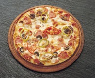 Pizza. With domato, olive, sausage, cheese stock images