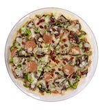 PIZZA. Entire pizza with mushrooms, bacon,pepper in glass plate isolated on white Royalty Free Stock Image