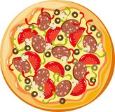 Pizza. With sausage, mushrooms, tomatoes, olives and peppers Royalty Free Stock Photography