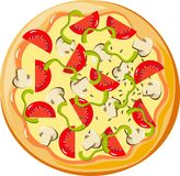 Pizza. With peppers, mushrooms, tomatoes and parsley Royalty Free Stock Image
