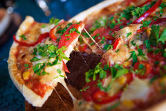 Pizza. Italian hot pizza with vegetables Stock Photography