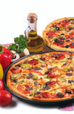 Pizza. And italian kitchen. Isolated on white background Stock Photos