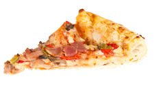 Pizza. Delicious slice of pizza isolated on a white background Royalty Free Stock Photo