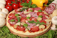 Pizza. With salami, ham, mushrooms, fresh Mozzarella,Tomatoes and Basil royalty free stock photos