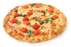 Pizza. Isolated pizza on white background, isometric view Royalty Free Stock Photos