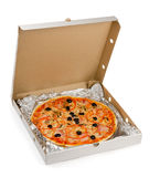 Pizza. In take away box isolated on white Stock Photos