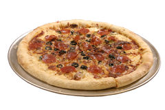 Pizza. Single pepperoni, sausage, balck olive and cheese pizza stock photos