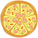 Pizza. Illustration of isolated pizza on white background Royalty Free Stock Photo