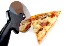 Pizza. Tasty Italian pizza and cutter, isolated on white background royalty free stock images