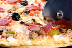 Pizza. A closeup of freshly cooked pizza stock photography
