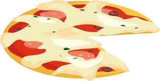 Pizza. With sausage and olives, illustrations Stock Images