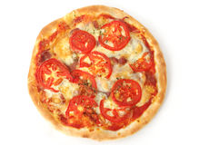 Pizza. Isolated pizza with fresh tomatoes on white background Stock Images