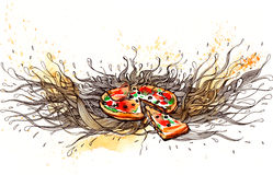 Pizza royaltyfri illustrationer