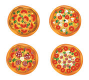 Pizza. Four different pizzas for design Royalty Free Stock Photos