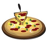 Pizza. Illustration of pizza isolated over white background Royalty Free Stock Photos