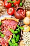 Pizza, aún vida Foto de archivo