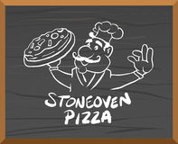 Pizza advertisement vector with character Stock Photo