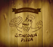 Pizza advertisement vector with character Royalty Free Stock Image