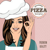 Pizza advertising banner with a beautiful lady Stock Photo
