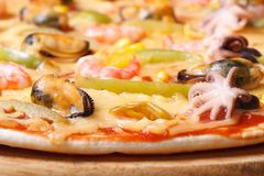 Pizza ai frutti di mare with octopus, mussels and shrimp macro Royalty Free Stock Images