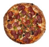 Pizza aislada en blanco imagen de archivo