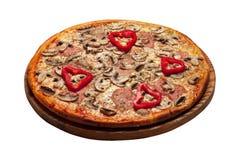 Pizza aislada en blanco Imagenes de archivo