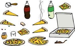 A pizza ajustou I ilustração do vetor