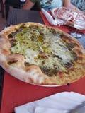 Pizza al pesto royalty free stock photography