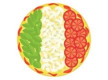 Pizza als italienische Flagge Stockbild