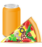 Pizza and aluminum cans with soda Stock Photos