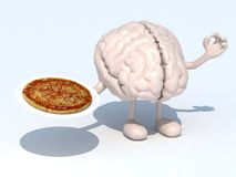 Pizza amd brain. Human brain with arms, legs and pizza on dish, 3d illustration Stock Images
