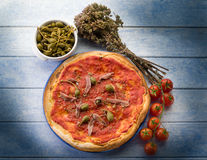 Pizza with anchovies Royalty Free Stock Photo