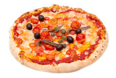 Pizza with anchovies and olives Stock Photos