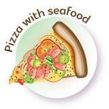 Pizza appétissante de couleur de vecteur avec des fruits de mer et des légumes Photo libre de droits