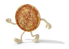 Pizza with arms and legs walking Stock Photo