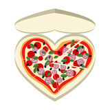 Pizza as a symbol of  heart. In a paper box. Vector illustration Royalty Free Stock Photography