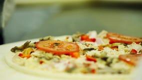 Pizza asperjada con las especias italianas almacen de metraje de vídeo