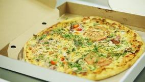 Pizza asperjada con las especias italianas almacen de video